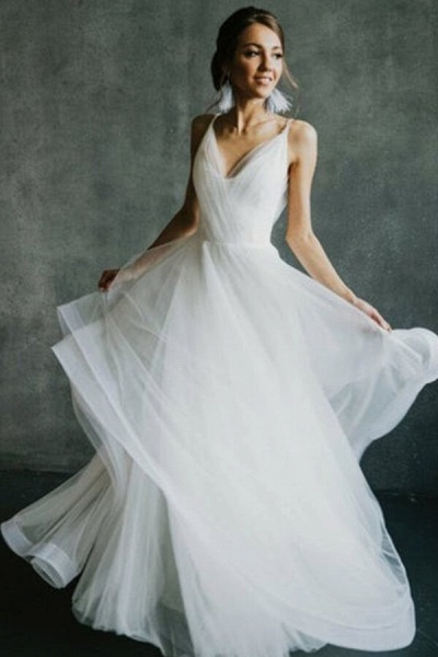 Awesome Open Back V-neck Tulle Wedding Dress_3