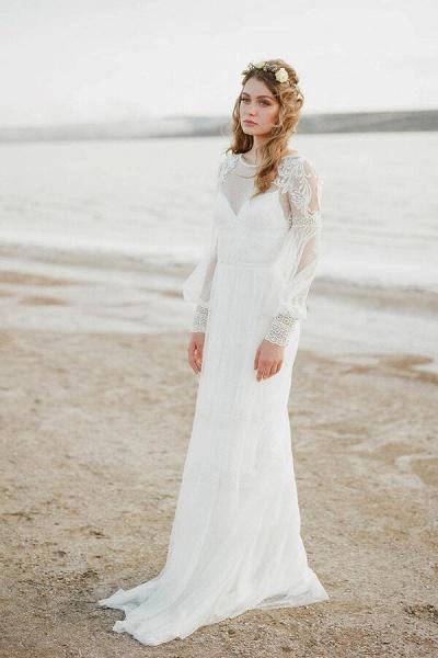 Chic Illusion Long Sleeve Tulle Wedding Dress_2