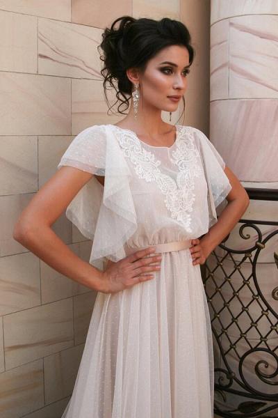 Short Sleeve Appliques Tulle A-line Wedding Dress_4