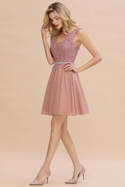 Cute Deep V-neck Short Homecoming Dress with Beaded Belt_11