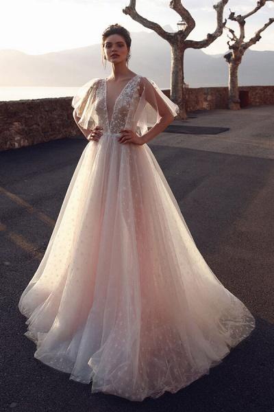 Chic Open Back V-neck Tulle A-line Wedding Dress_1