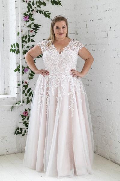 Plus Size Lace-up Short Sleeve A-line Wedding Dress_1