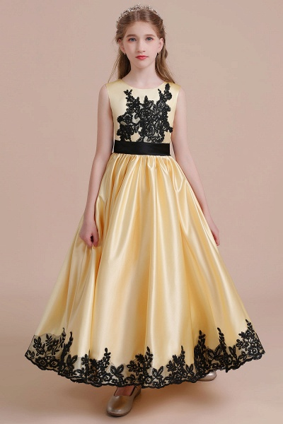 Chic Bow Appliques Satin A-line Flower Girl Dress_1