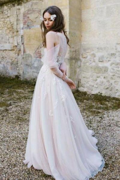 Chic Cold-shoulder Long Sleeve Tulle Wedding Dress_3