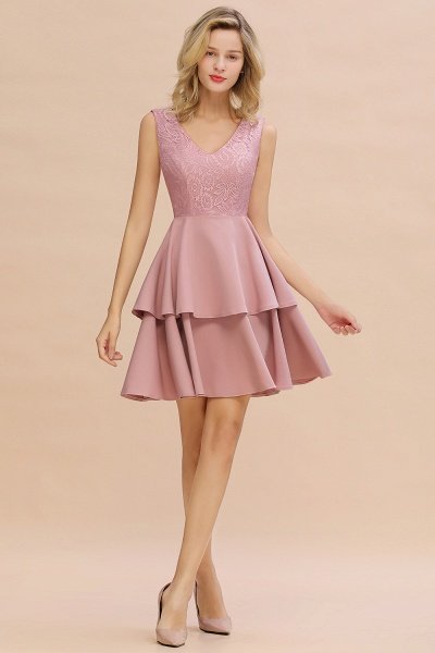 Sexy V-neck V-back Knee Length Homecoming Dress with Ruffle Skirt_14