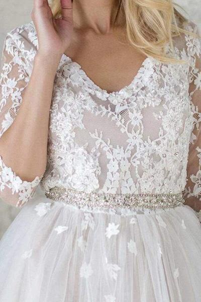 Best V-neck Floor Length Tulle Sheath Wedding Dress_5