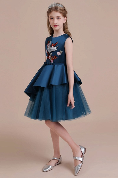 Embroidered Satin Tulle A-line Flower Girl Dress_6