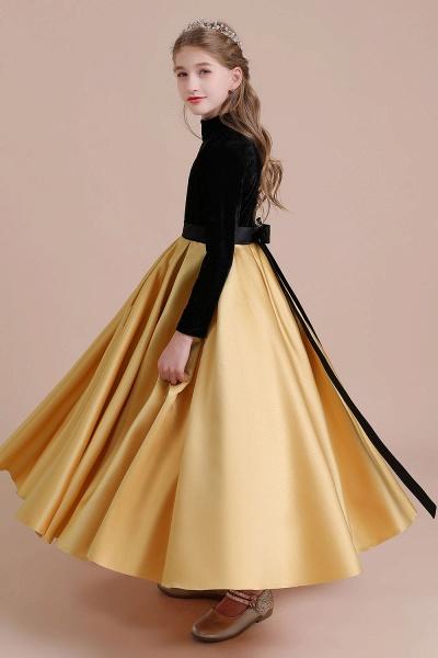 High-neck Velvet Satin A-line Flower Girl Dress_9
