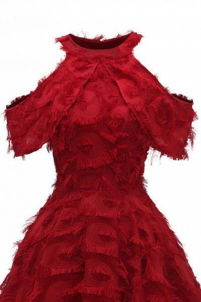 Elegant High neck Artifical Feather A-line Vintage Cocktail Dresses | Retro A-line Burgundy Homecoming Dress_13