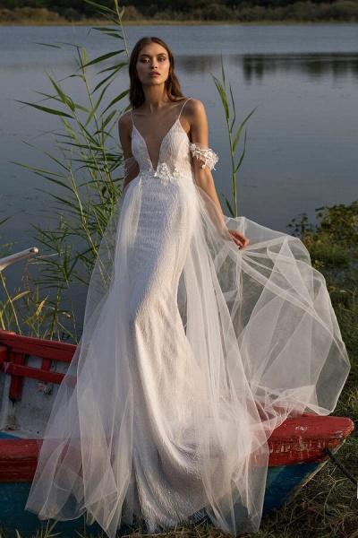 Amazing Spaghetti Strap Tulle Sheath Wedding Dress_1