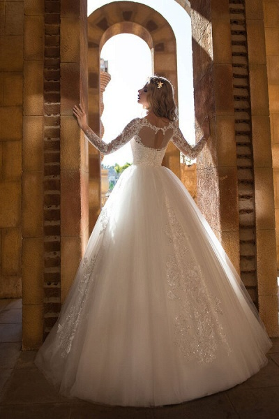 Appliques Long Sleeve Tulle Ball Gown Wedding Dress_3