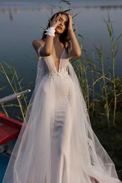 Amazing Spaghetti Strap Tulle Sheath Wedding Dress_5
