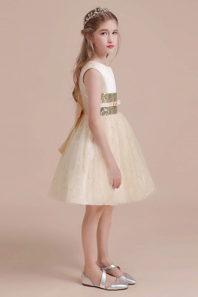 Cute Sequins Tulle A-line Flower Girl Dress_6