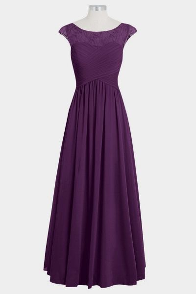 Cap Sleeve Ruffle Lace Chiffon Bridesmaid Dress