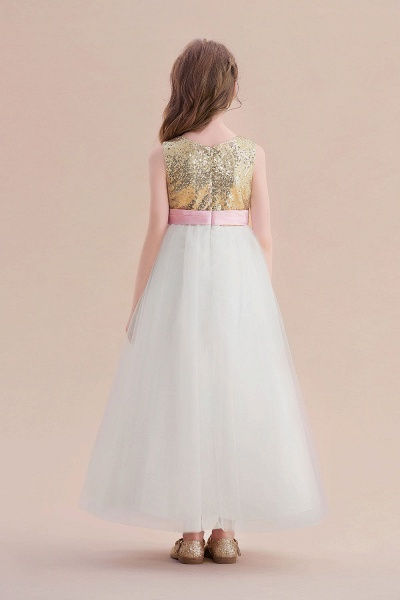 Sequins Tulle High-waisted A-line Flower Girl Dress_3
