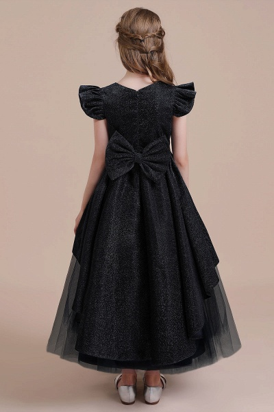 Glitter Cap Sleeve Tulle A-line Flower Girl Dress_3