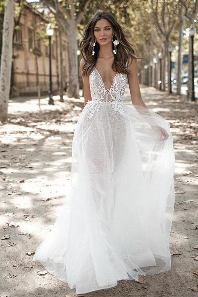 Open Back Appliques Tulle A-line Wedding Dress_1