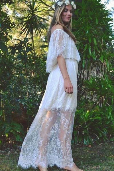 Off-the-shoulder Lace Floor Length Wedding Dress_6