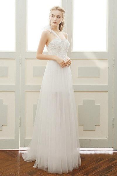 Elegant One Shoulder Tulle A-line Wedding Dress_4