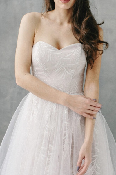 Awesome Sweetheart Lace Tulle A-line Wedding Dress_5