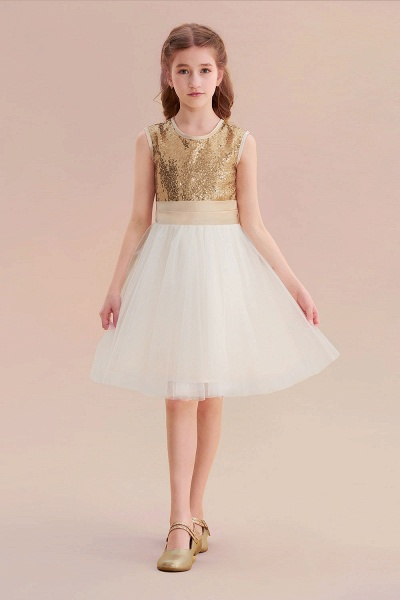 Sequins Tulle Bow A-line Flower Girl Dress_1