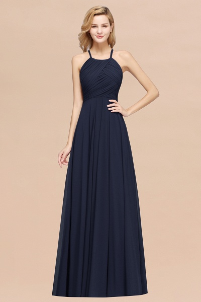 A-Line Chiffon Halter Ruffles Floor-Length Bridesmaid Dress_28