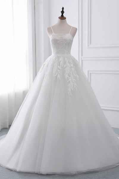 Spaghetti Strap Tulle Ball Gown Wedding Dress_1