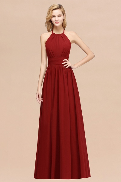 A-line Chiffon Appliques Halter Sleeveless Floor-Length Bridesmaid Dresses with Ruffles_48