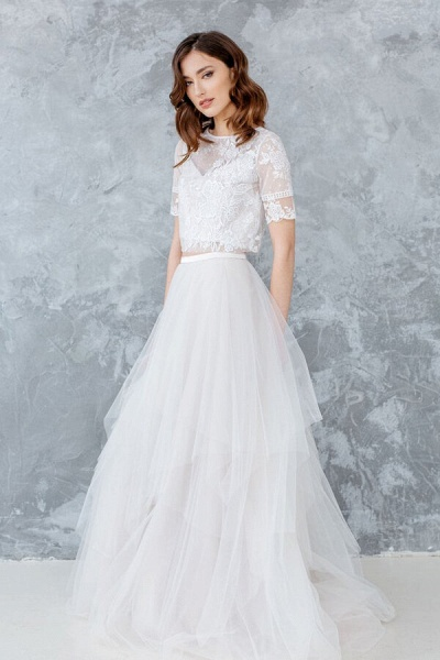 Short Sleeve Lace Tulle Two Piece Wedding Dress_4