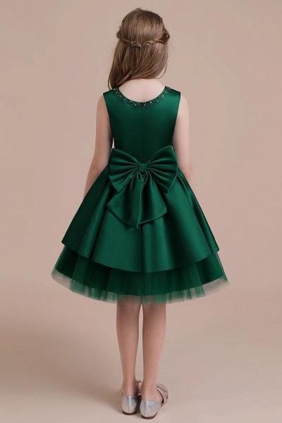 Bow Beading Satin Tulle A-line Flower Girl Dress_3