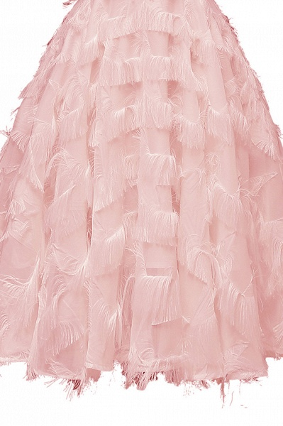 Sexy off-the-shoulder Artifical Feather Princess Vintage Homecoming Dresses | Womens Retro A-line Pink Cocktail Dress_10