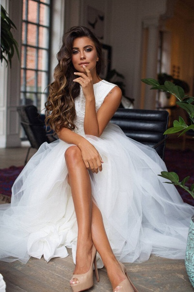 Awesome Lace Tulle Two Piece Wedding Dress_4