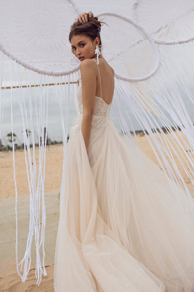 Awesome Spaghetti Strap Tulle A-line Wedding Dress_3