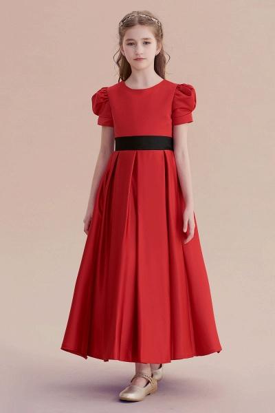 Awesome Short Sleeve A-line Satin Flower Girl Dress_1