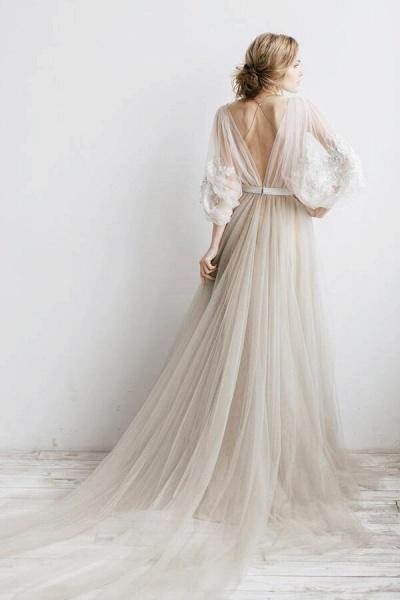 Graceful Appliques Long Sleeve Tulle Wedding Dress_3