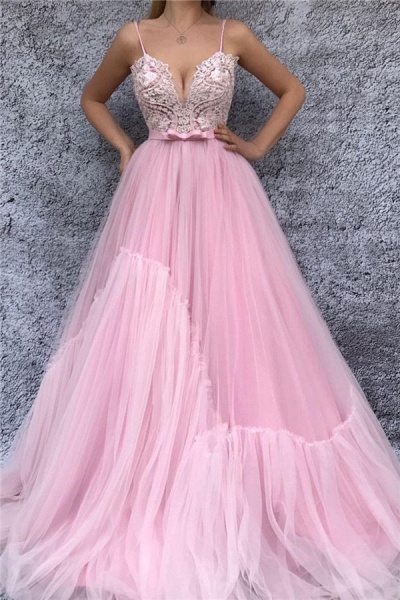 Fascinating Spaghetti Straps Tulle A-line Prom Dress_1