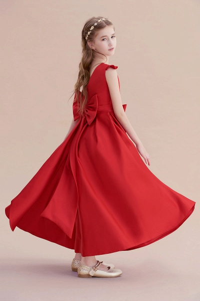 Satin Bow  A-line Ankle Length Flower Girl Dress_7