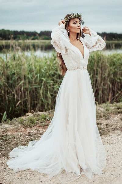 Front Slit Long Sleeve Lace Tulle Wedding Dress_7