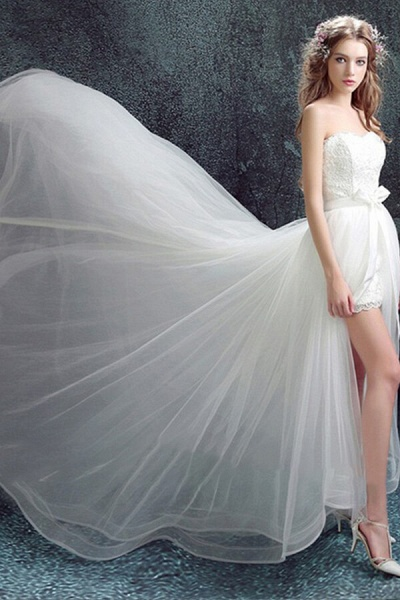 Amazing Sweetheart Tulle Chapel Train Wedding Dress_5