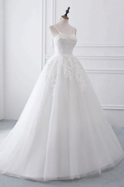 Spaghetti Strap Tulle Ball Gown Wedding Dress_4
