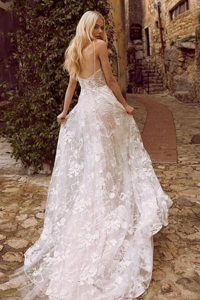 V-neck Spaghetti Strap A-line Tulle Wedding Dress_3