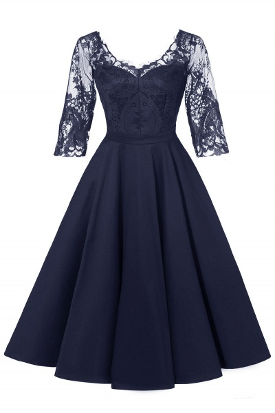 Retro Scoop neck  V-back Lace Dresses with Sleeves | A-line ruffles Burgundy Lace Cocktail Party Dresses_2