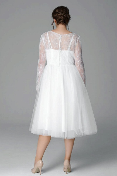 Plus Size Long Sleeve Lace Tulle Wedding Dress_3