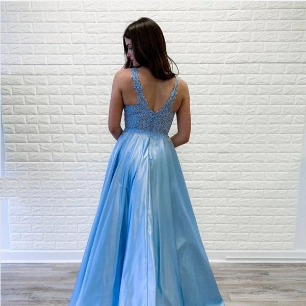 Fabulous V-neck Stretch Satin A-line Prom Dress_3