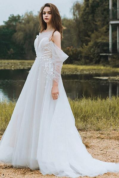 Chic Long Sleeve Cold-shoulder Tulle Wedding Dress_6