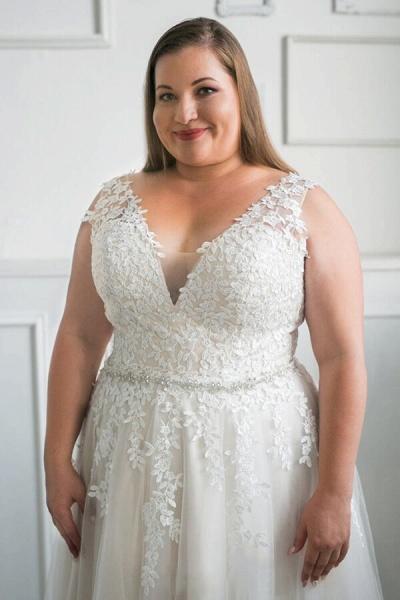 Plus Size V-neck Tulle A-line Wedding Dress_6