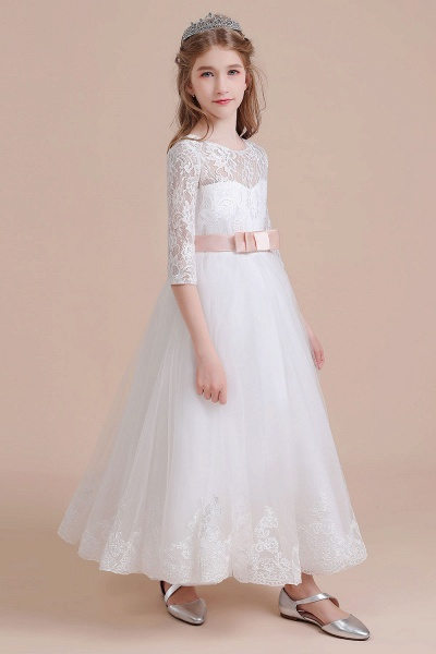 Illusion Lace Tulle Ankle Length Flower Girl Dress_4