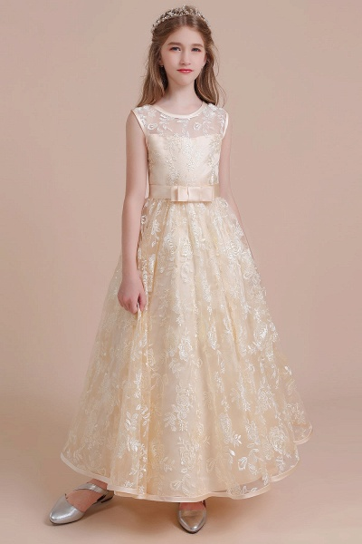 Amazing Lace Tulle A-line Flower Girl Dress_1