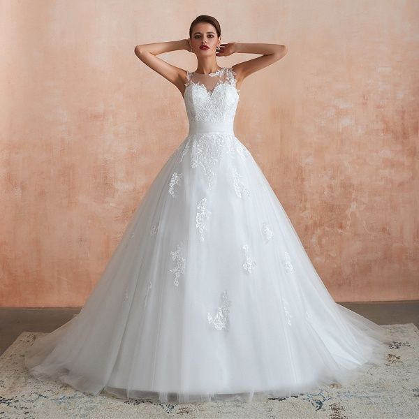 Amazing Illusion Appliques Tulle Wedding Dress_8