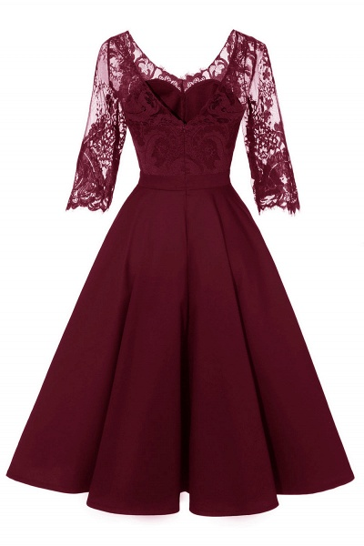 Retro Scoop neck  V-back Lace Dresses with Sleeves | A-line ruffles Burgundy Lace Cocktail Party Dresses_13